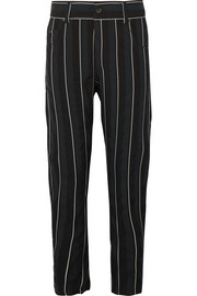 Striped cotton-twill tapered pants