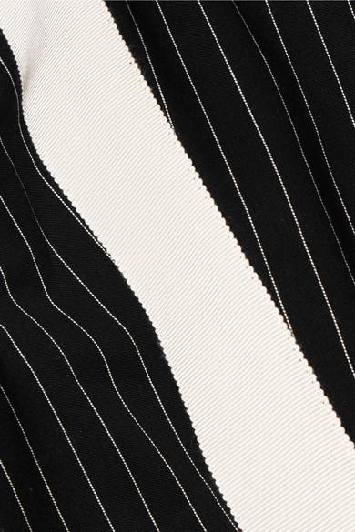 Haider Ackermann Eng geschnittene Hose aus einer Baumwollmischung mit Nadelstreifen und Ripsbandbesatz