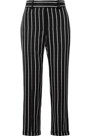 Striped satin straight-leg pants