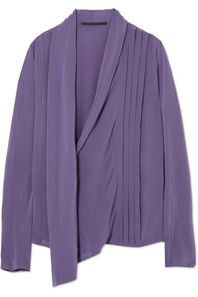 Haider Ackermann - Pleated Silk-crepe Wrap Blouse - Dark purple