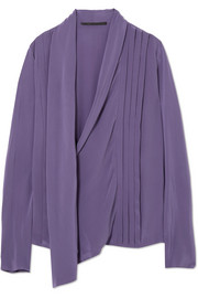 Pleated silk-crepe wrap blouse
