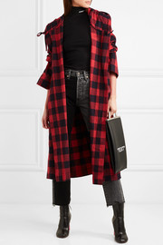Oversized hooded checked cotton-flannel jacket