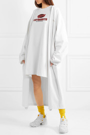 Oversized hooded printed cotton-jersey coat