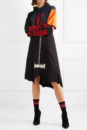 Patchwork printed cotton-jersey hooded dress