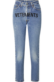 + Levi's printed mid-rise straight-leg jeans