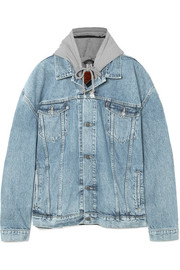 Oversized appliquéd hooded denim and jersey jacket