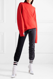 Oversized appliquéd cutout stretch-cotton jersey sweatshirt