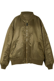Reversible oversized satin-shell bomber jacket