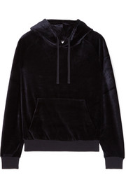 Crystal-embellished velour hooded top