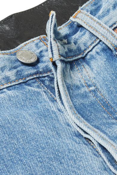 Vetements Hoch sitzende Jeans mit geradem Bein und Ledereinsatz