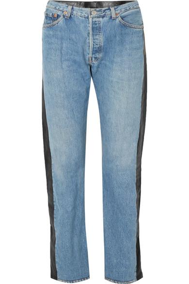 7b0865d3f82f Vetements. Leather-paneled high-rise straight-leg jeans