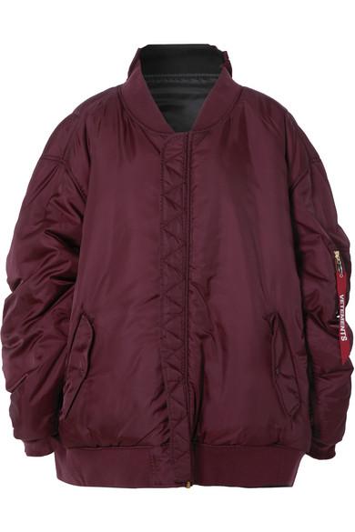 Reversible Burgundy Alpha Industries Edition Oversized Hooded Bomber Jacket