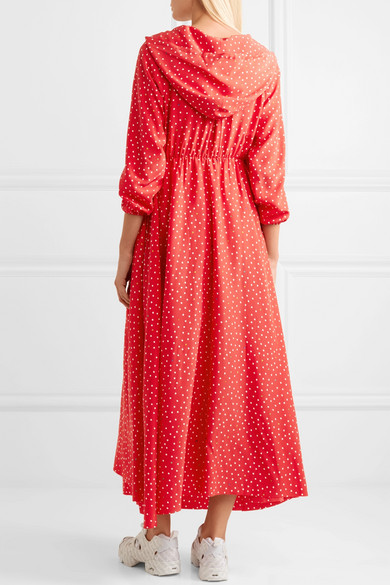 Hooded Printed Silk Crepe De Chine Maxi Dress - Red VETEMENTS Professional Cheap Sale Pay With Visa Clearance Marketable Free Shipping Visit Shop For For Sale 4sbyC