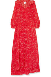 Hooded printed silk crepe de chine maxi dress