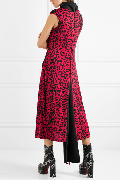 Paneled Leopard-print Stretch-jersey Midi Dress - Red VETEMENTS xttJV