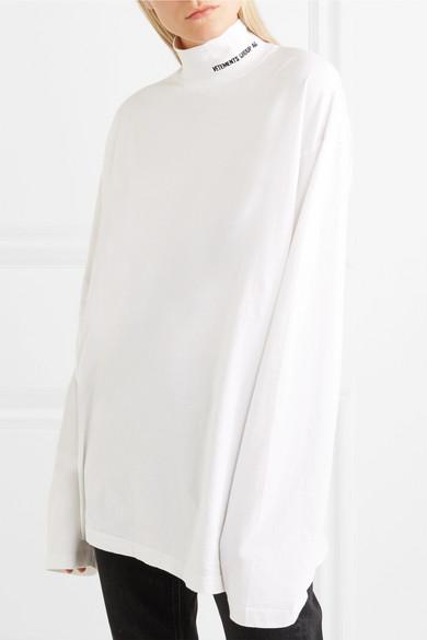 Vetements Besticktes Rollkragenoberteil aus Baumwoll-Jersey in Oversized-Passform