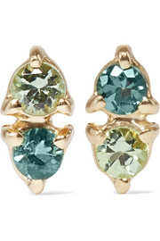 Two Step 14-karat gold tourmaline earrings