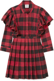 Ruffled checked cotton-flannel mini dress