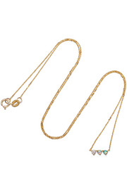 Three Points 14-karat gold, opal and diamond necklace