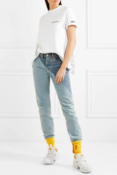 Vetements Bedrucktes T-Shirt aus Baumwoll-Jersey mit Rückenausschnitt