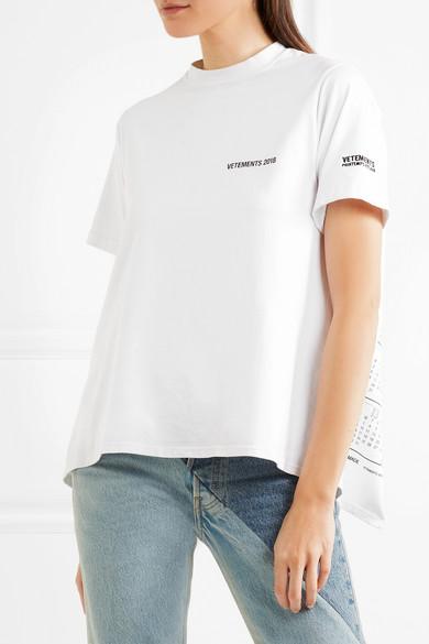 dd1fba4b Vetements | Open-back printed cotton-jersey T-shirt | NET-A-PORTER.COM