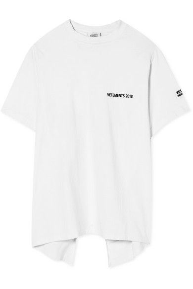 VETEMENTS Open-Back Printed Cotton-Jersey T-Shirt in White