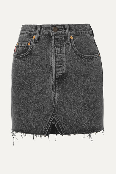 Vetements + Levi's Minirock aus Denim mit Fransen