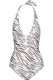 Kalahari ruched printed halterneck swimsuit