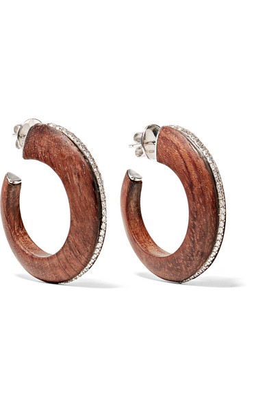 FRED LEIGHTON COLLECTION 18-KARAT WHITE GOLD, PALISANDER WOOD AND DIAMOND HOOP EARRINGS