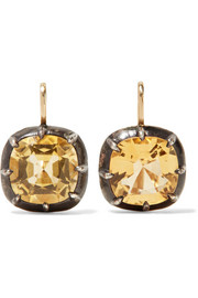 Collection 18-karat gold, silver and citrine earrings