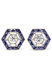 Collection 18-karat white gold, sapphire and diamond earrings