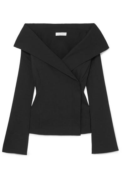BEAUFILLE Tora Off-The-Shoulder Linen-Blend Top in Black