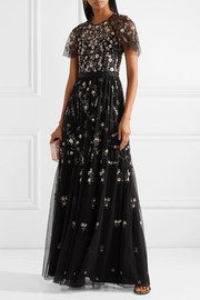 Needle & Thread Solstice satin-trimmed embellished tulle gown