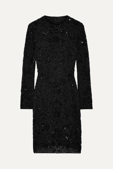 Needle & Thread Monoliet verziertes Minikleid aus Chiffon