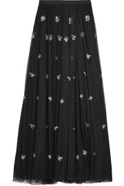 Lumiere embellished tulle maxi skirt