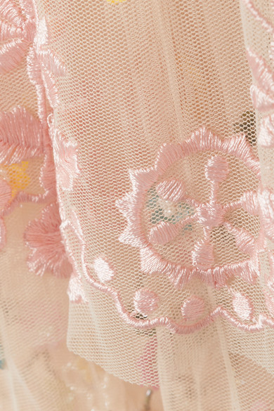 Anglais Tiered Embellished Tulle Mini Dress - Baby pink Needle & Thread wLLHGxy5g