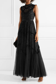 Needle & Thread Daisy embroidered embellished tulle gown