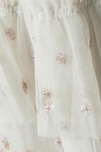Needle & Thread Sunburst gestufte Robe aus verziertem Tüll mit Stickereien und Rüschen