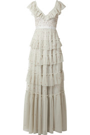 Needle & Thread Sunburst tiered embellished ruffle-trimmed tulle gown