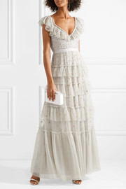 Sunburst tiered embellished ruffle-trimmed tulle gown