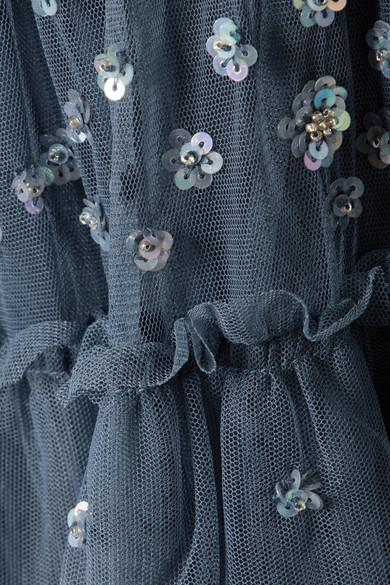Needle & Thread Sunburst gestuftes Midikleid aus Tüll mit Verzierungen und Rüschen