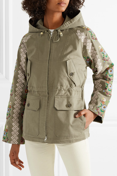 Needle & Thread Bestickte Jacke aus Canvas aus einer Baumwollmischung