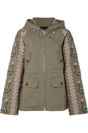 Needle & Thread Embroidered cotton-blend canvas jacket