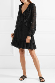 Needle & Thread Ruffled broderie anglaise georgette wrap mini dress