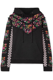 Needle & Thread Embellished broderie anglaise-trimmed jacquard cotton-blend hooded top