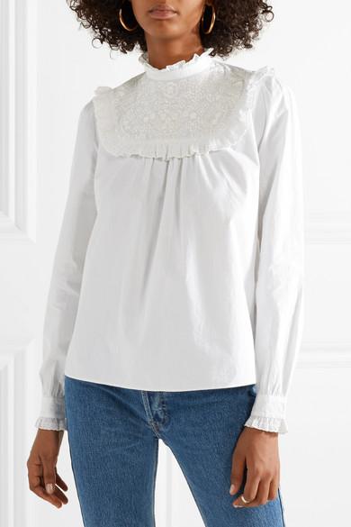 Needle & Thread Bluse aus Baumwollpopeline mit Lochstickerei
