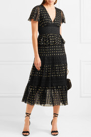 Temperley London Wondering lace-paneled fil coupé georgette midi dress