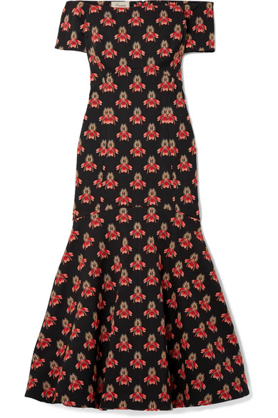 Temperley London Jupiter schulterfreies Midikleid aus Jacquard