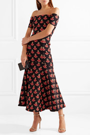 Temperley London Jupiter off-the-shoulder jacquard midi dress