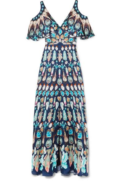 Temperley London Quartz Robe aus bedrucktem Crêpe de Chine aus Seide mit Cut-outs